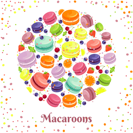 cookies: Macaroons cookies round label. French food, cookie and biscuit, snack tasty, vector illustration