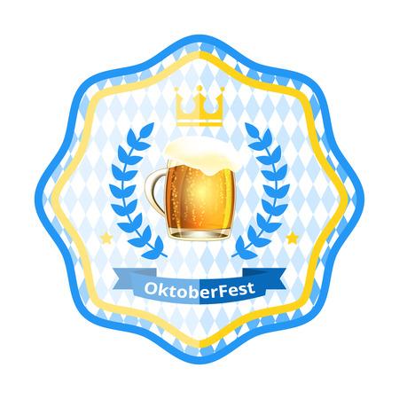 chope biere: Oktoberfest �tiquette avec chope de bi�re, la couronne et couronne de laurier