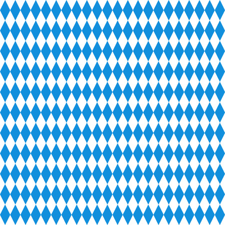 Oktoberfest checkered background. Blue diamonds on white seamless pattern