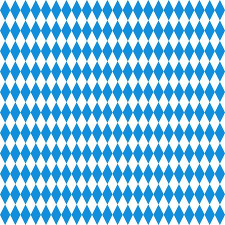 Oktoberfest checkered background. Blue diamonds on white seamless pattern