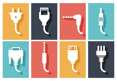 Electric plug flat icons set. Connection technology, connector electric power, device connect, wire and socket, vector illustration Vettoriali