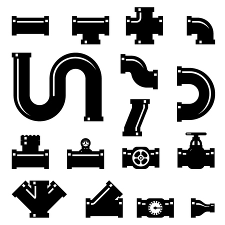 industrial construction: Pipe fittings vector icons set. Tube industry, construction pipeline, drain system, vector illustration