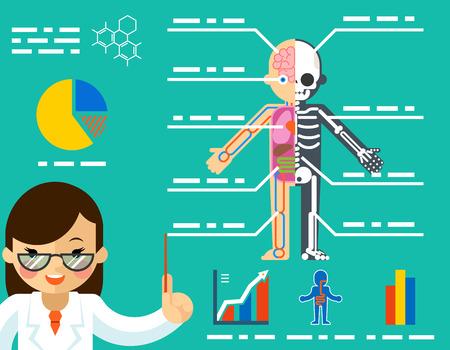 bones: Medical concept. Doctor woman showing anatomy. Science healthcare, human body, education biology skeleton, vector illustration Illustration