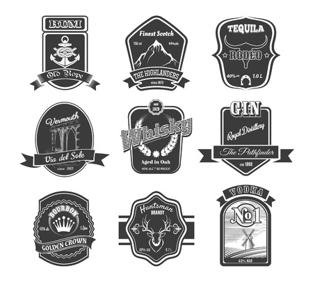 Vector set of vintage alcohol labels. Brandy and vodka, gin and tequila, scotch and rum illustration Stock Illustratie