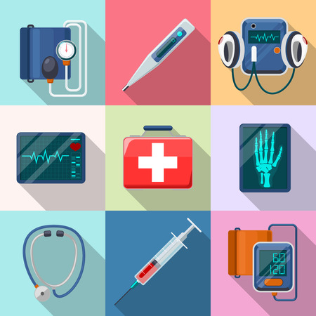 defibrillator: Medical devices set. Tonometer and phonendoscope, defibrillator and X-ray.  Care and tool, healthcare and aid, equipment collection, cardiogram and instrument, vector illustration Illustration