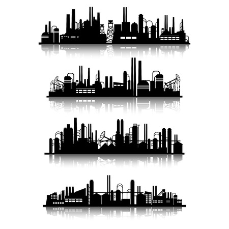 Industrial buildings silhouettes. Construction industry town set. Vector illustration