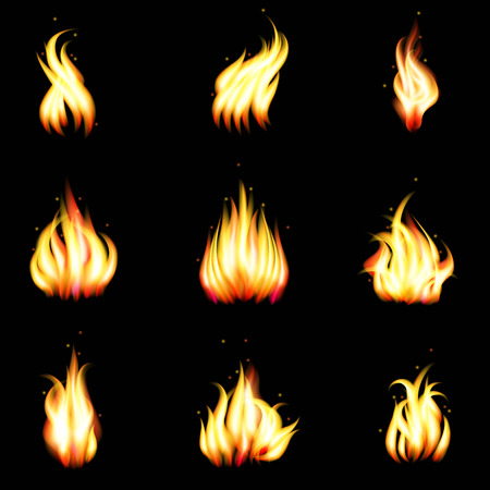 blaze: Set of vector realistic fire. Heat and blaze, energy and bonfire illustration