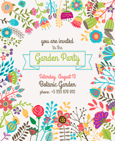 Garden or summer party invitation template or poster. Nature flower set design vector illustration plant Çizim