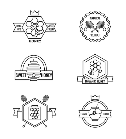 apiculture: Beekeeping and apiculture vector badges, labels and icon . Food sweet, insect and cell, honeycomb and flower, vector illustration Illustration