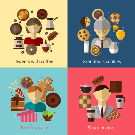 honey cake: Birthday cake. Grandmas cookies. Sweets with coffee. Snack at work.  Chocolate and espresso, bake and cupcake, cook product, breakfast beverage and honey, vector illustration Illustration