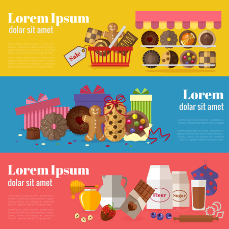 botanas: La compra de galletas, bizcochos y galletas para hornear regalo pancartas. Diseño dulce, chocolate y aperitivos producto. Ilustración vectorial