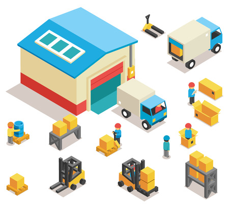Isometric factory distribution warehouse building with trucks, electric trolleys and goods. Vector 3d icons set. Industrial delivery cargo, transportation and pallet illustration