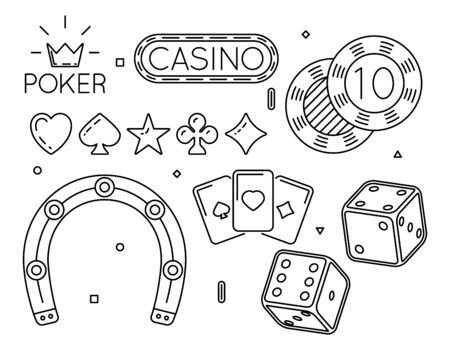 gambling game: Vector set of casino and poker club line icons. Game symbol, gambling play, fortune and luck illustration Illustration