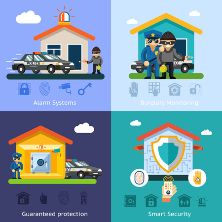 security monitor: Home security system flat vector background concepts. House design technology, symbol safety control protection illustration