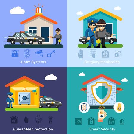 caja fuerte: Vector plana fondo los conceptos del sistema de seguridad del hogar. Tecnología de diseño Casa, protección de la ilustración de control de seguridad símbolo Vectores