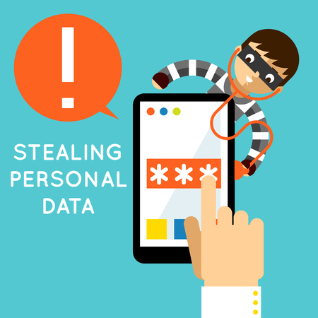 stealing data: Stealing personal data. Internet protection, hacker crime, safety and password, vector illustration