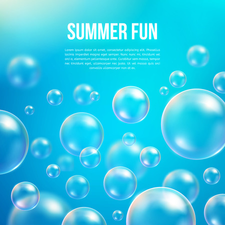 sea water: Abstract soap bubbles vector background. Transparent circle, sphere ball, water sea and ocean pattern illustration