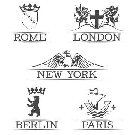 berlin: Arms of Paris and Rome, emblems of New York and London, sign of Berlin. Eagle and shield, bear and sailboat, dragon and crown, capital town. Vector illustration
