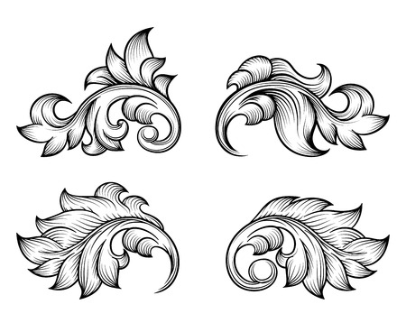 Vintage baroque scroll leaf set in engraving style element, ornate decoration, filigree floral. Vector illustration Illustration