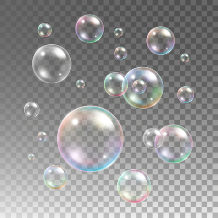 Transparent multicolored soap bubbles vector set on plaid background. Sphere ball, design water and foam, aqua wash illustration