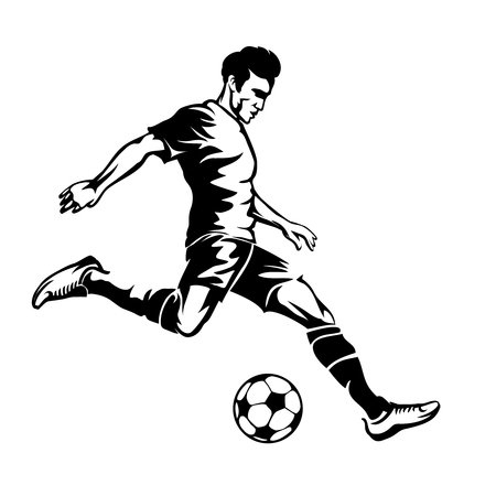 kicking ball: Football player with soccer ball vector silhouette. Sport game, goal and competition, action athlete. Vector illustration