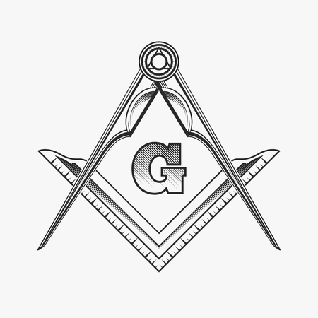 Freemasonry emblem icon with G great architect. Mystic occult symbol, esoteric and alchemy, vector illustration Illustration