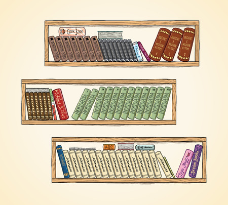 books library: Hand drawn vector books on the bookshelves. Library and shelf, bookstore and literature illustration