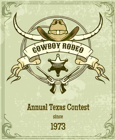 rodeo americano: Cartel del rodeo estilo retro. Dise�o de estilo americano, bandera con la cuerda y cinta y cuernos largos. Ilustraci�n vectorial Vectores
