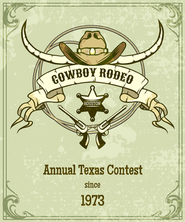 Retro style rodeo poster. American style design, banner with rope and ribbon and longhorn. Vector illustration