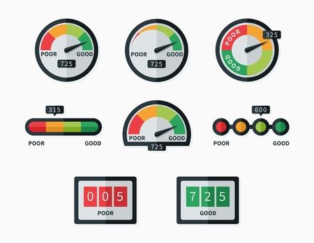 pobres: Indicadores y medidores de puntuaci�n de cr�dito conjunto de vectores. Nivel de medida, la presi�n de la pantalla, m�ximo ilustraci�n m�nimo y Vectores