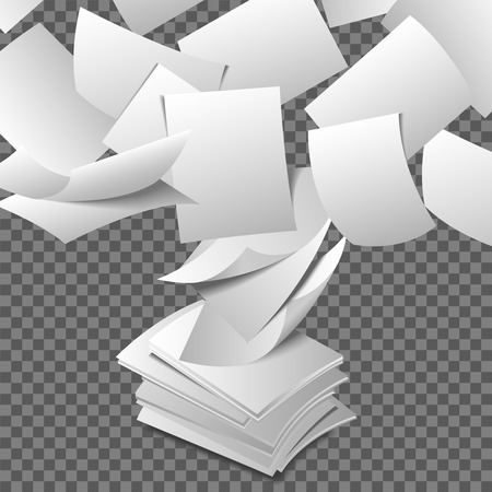 file: Flying paper sheets. Document blank business, white page, design bureaucracy, object fly, vector illustration