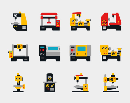 Conveyor units and machines flat icons set. Industry work, factory production, vector illustration