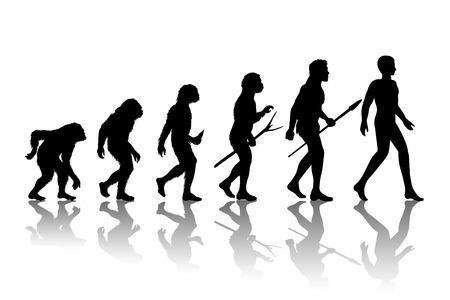 hominid: Evoluzione dell'uomo. Silhouette progresso dello sviluppo della crescita. Neanderthal e la scimmia, homo-sapiens o ominide, primate scimmia o con l'arma lancia o bastone o pietra. Illustrazione vettoriale