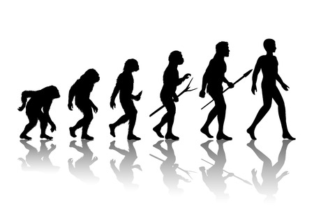 Mens evolutie. Silhouet vooruitgang groei ontwikkeling. Neanderthaler en de aap, homo-sapiens of hominide, primaat of aap met wapen speer of een stok of een steen. Vector illustratie