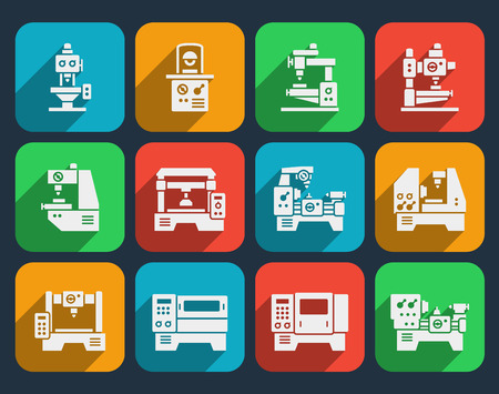 milling: Processing and milling, turning and drilling machines icons set. Technology industry, lathes industrial, factory production, vector illustration