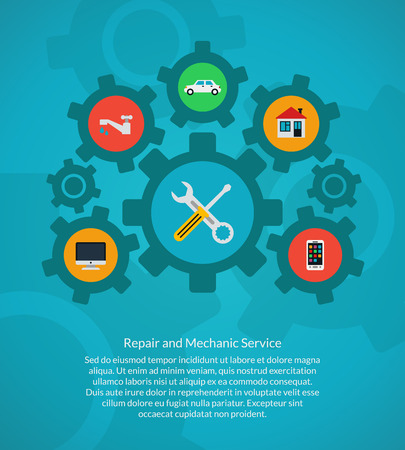 computer repair: Repair and mechanic service. Home and computer, car and plumbing, smartphone and tool wrench, vector illustration