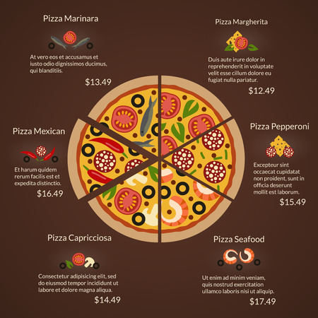 pepperoni: Round pizza with different sort slices and ingredients in flat vector style. Seafood and margherita, capricciosa and pepperoni, mexican and marinara