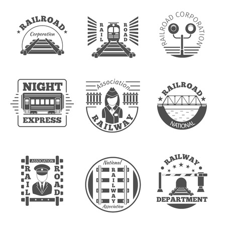black train: Vector set of railway emblem. Railroad labels or icon . Night express, association corporation national department icon illustration