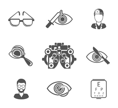 optometry: Oculist and optometry black icons set. Medicine health, eye and analyze, ophthalmology and treatment, vector illustration
