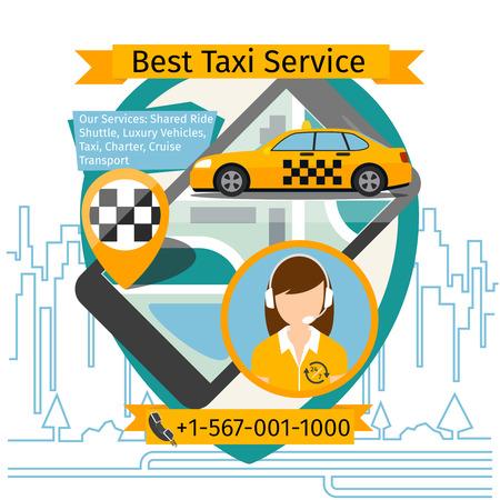 taxi: Public taxi creative poster. App smartphone, touchscreen technology service. Vector illustration