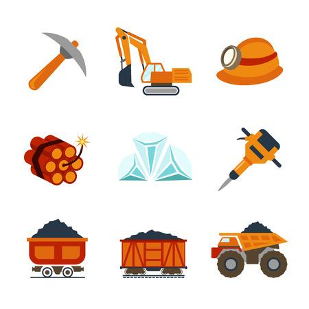 presslufthammer: Vector Kohleindustrie flache Symbole gesetzt. Trolley und Treibstoff, Dynamit und U-Bahn, Pick und Fertigung Illustration Illustration