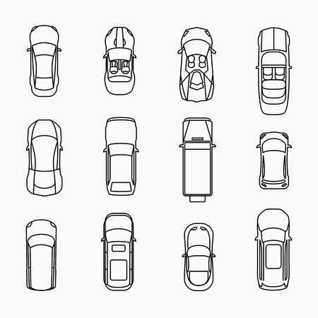 汽車圖標頂視圖集。汽車及汽車,矢量illuistration