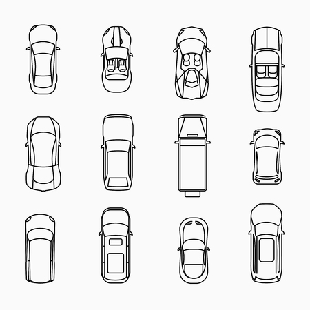 Car icons top view set. Automobile and vehicle, vector illuistration Çizim