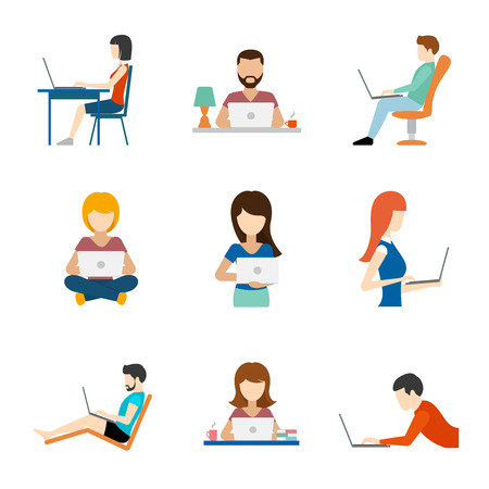 laptop: People working on computer flat icons. Person job, businessman and businesswoman, vector illustration