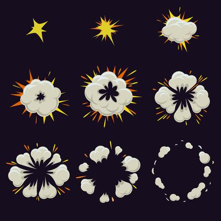 comic: Animaci�n del efecto de explosi�n en estilo c�mico. Burbuja de destello de movimiento y elemento de auge, ilustraci�n vectorial Vectores