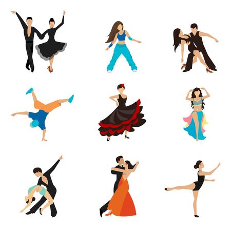 gente bailando: Dancing estilos iconos planos establecidos. Pareja de baile de vals, tango artista, mujer y hombre. Ilustración vectorial Vectores