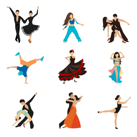 Dancing styles flat icons set. Partner dance waltz, performer tango, woman and man. Vector illustration