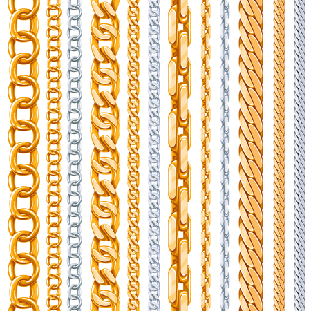 Gold and silver chains vector set. Link metallic, shiny element, object iron strong illustration Vectores