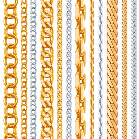 cadenas: El oro y cadenas de plata conjunto de vectores. Enlace metálico, elemento brillante, hierro objeto fuerte ilustración