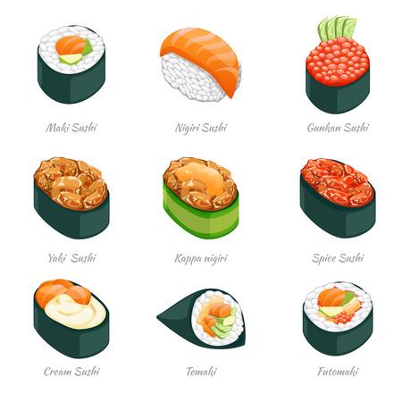 comida japonesa: Sushi rollos de iconos vectoriales. Comida japonesa menú, arroz y mariscos, temaki e ilustración futomaki
